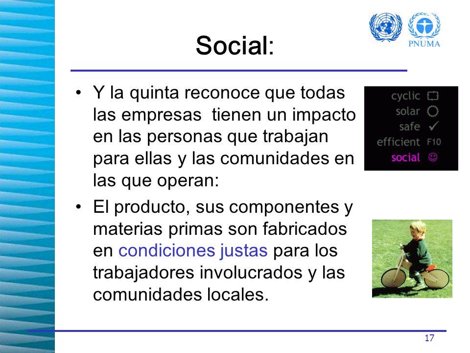 Social: Y la quinta reconoce que todas las empresas tienen un impacto en las personas que trabajan para ellas y las comunidades en las que operan: