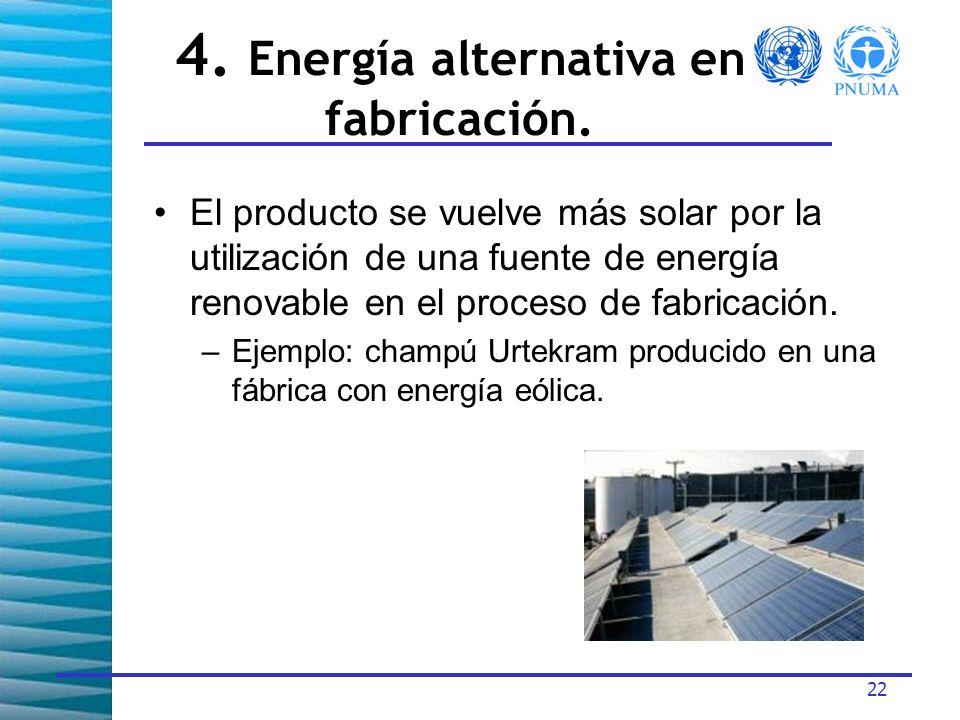 4. Energía alternativa en fabricación.