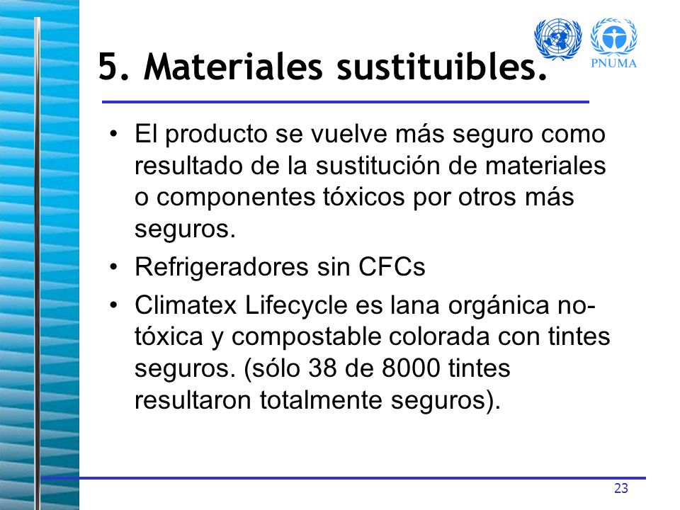 5. Materiales sustituibles.