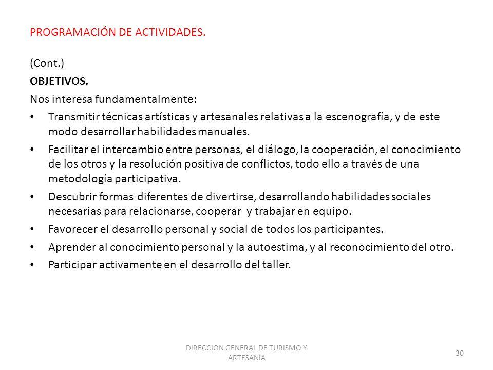 PROGRAMACIÓN DE ACTIVIDADES.