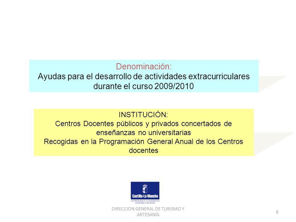 Denominación: Ayudas para el desarrollo de actividades extracurriculares durante el curso 2009/2010.
