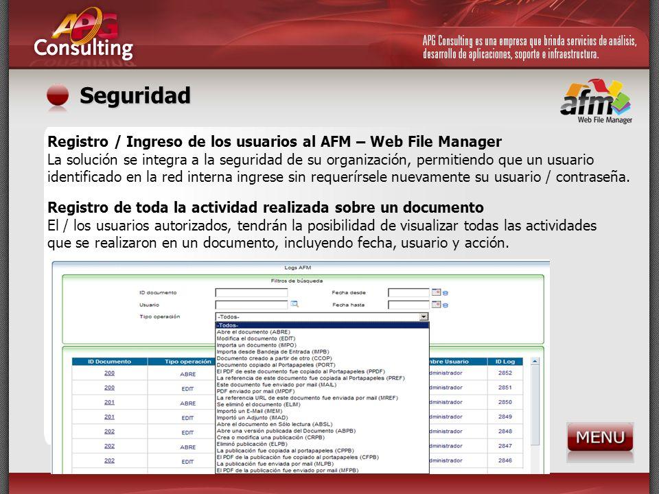 Seguridad Registro / Ingreso de los usuarios al AFM – Web File Manager