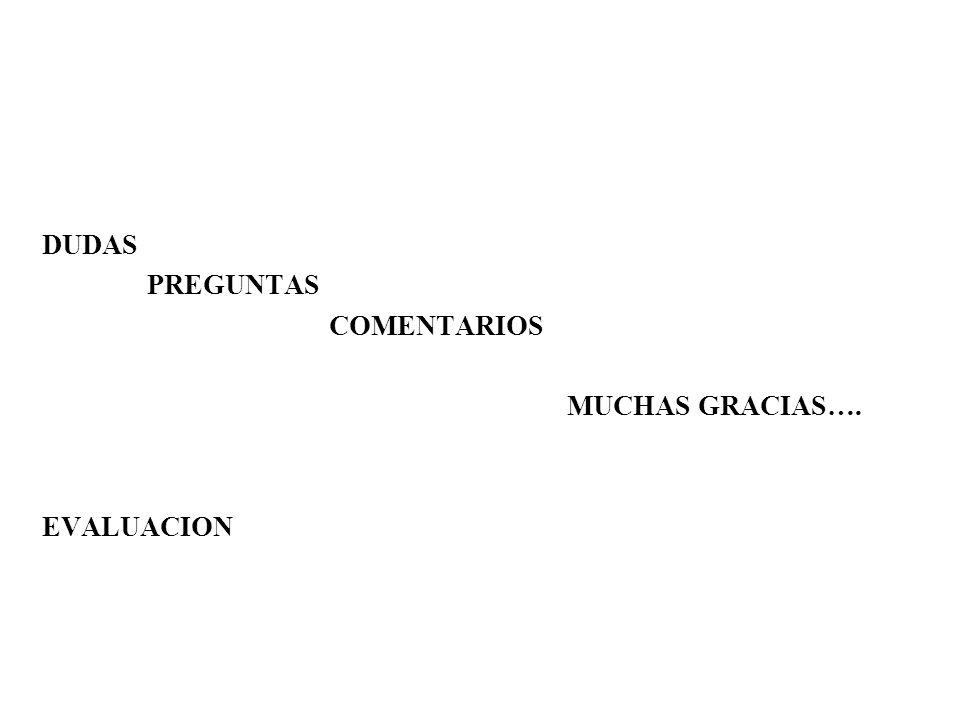 DUDAS PREGUNTAS COMENTARIOS MUCHAS GRACIAS…. EVALUACION