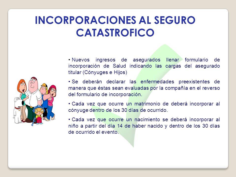 INCORPORACIONES AL SEGURO CATASTROFICO