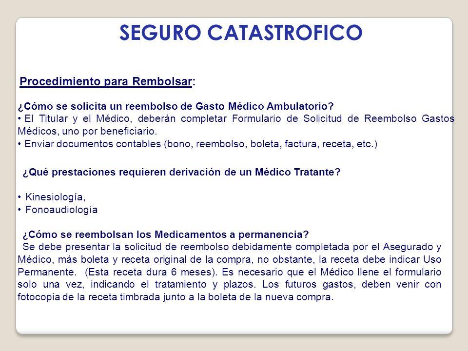 SEGURO CATASTROFICO Procedimiento para Rembolsar:
