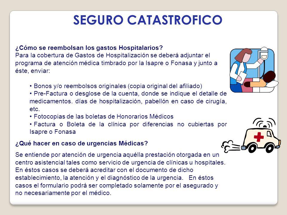 SEGURO CATASTROFICO ¿Cómo se reembolsan los gastos Hospitalarios
