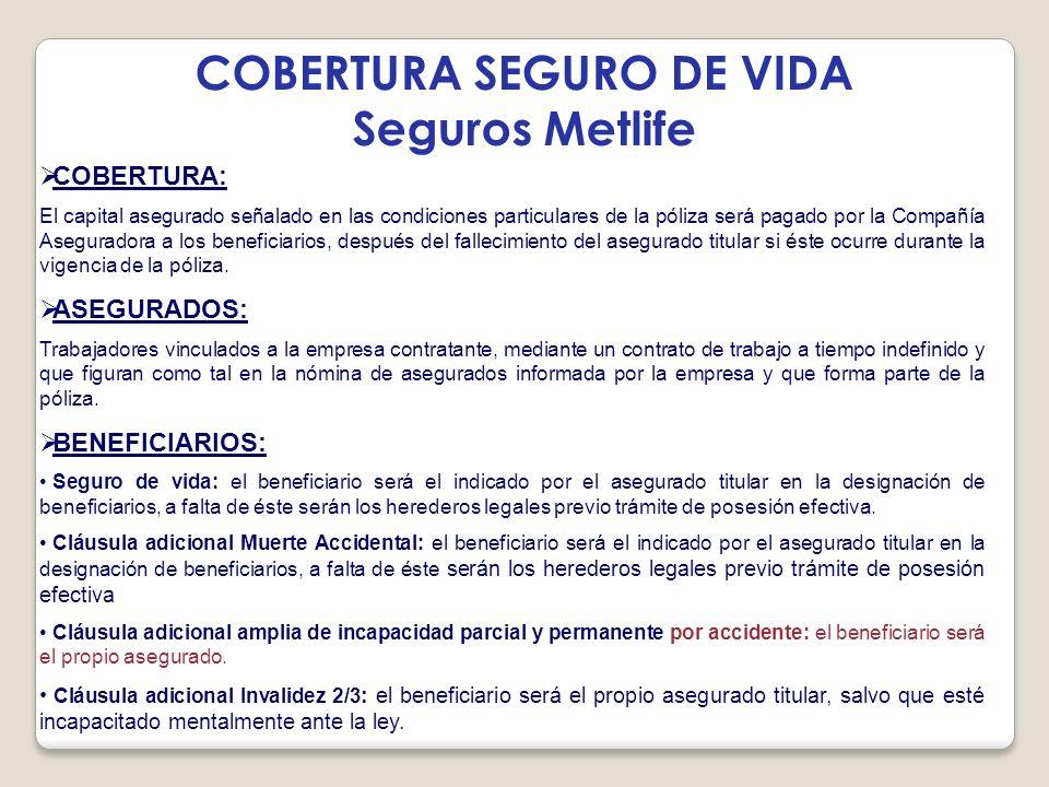 COBERTURA SEGURO DE VIDA