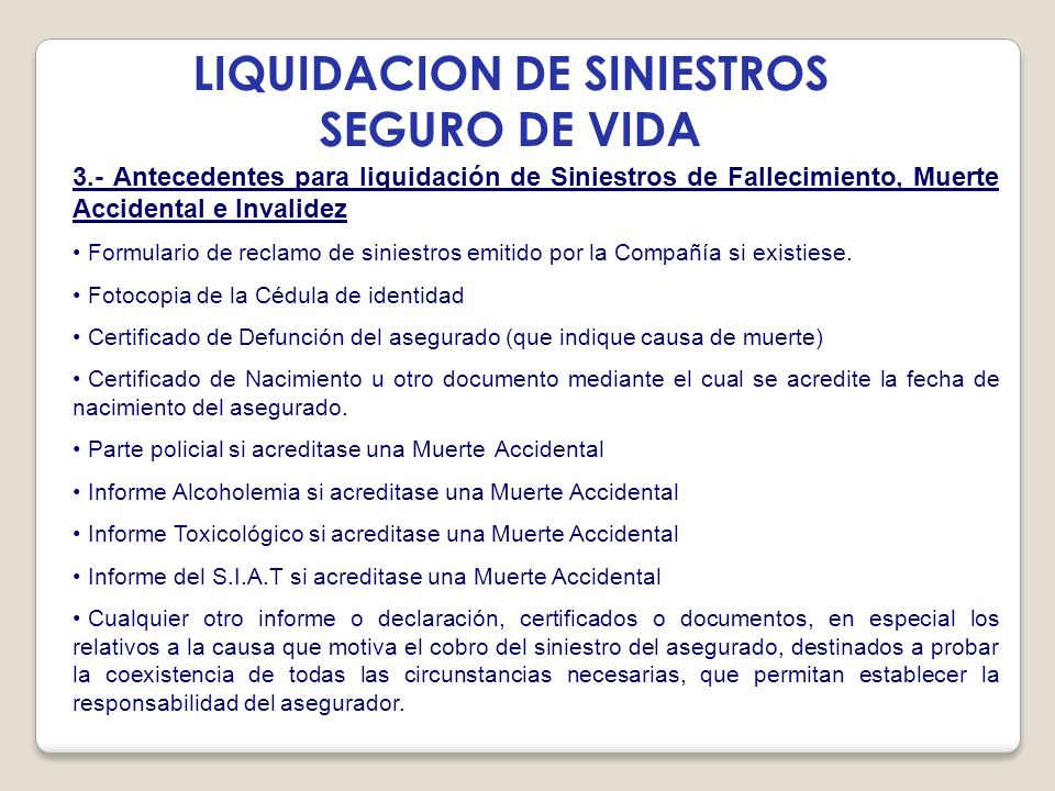 LIQUIDACION DE SINIESTROS