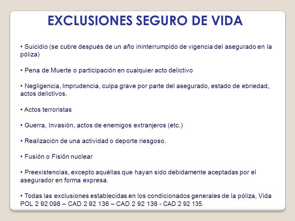 EXCLUSIONES SEGURO DE VIDA