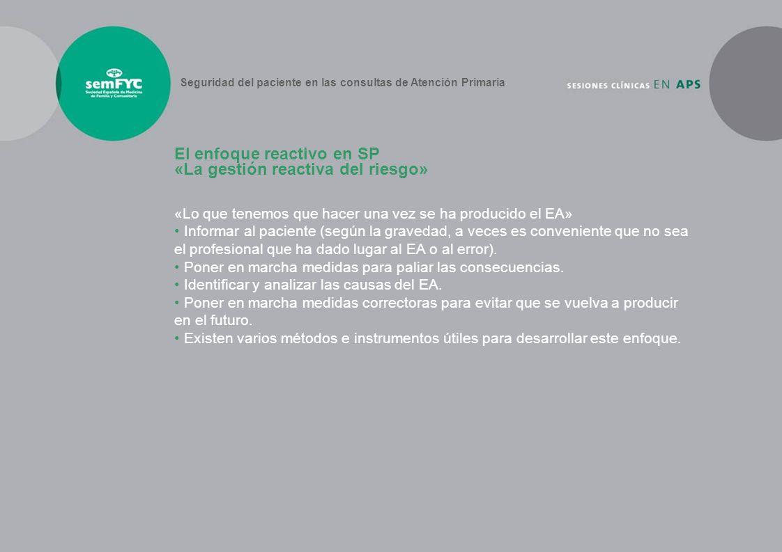 El enfoque reactivo en SP «La gestión reactiva del riesgo»