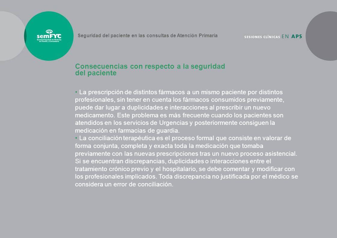 Consecuencias con respecto a la seguridad del paciente