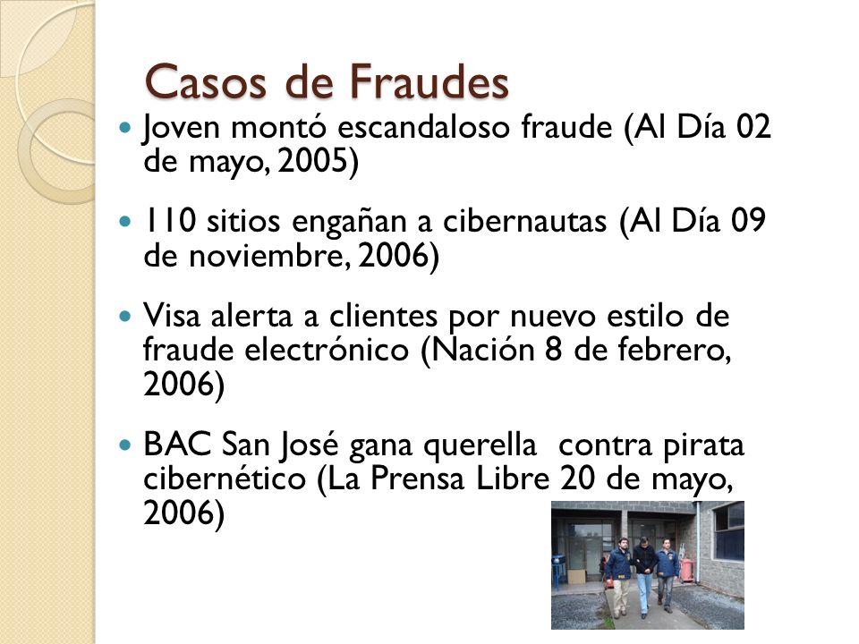 Casos de Fraudes Joven montó escandaloso fraude (Al Día 02 de mayo, 2005) 110 sitios engañan a cibernautas (Al Día 09 de noviembre, 2006)