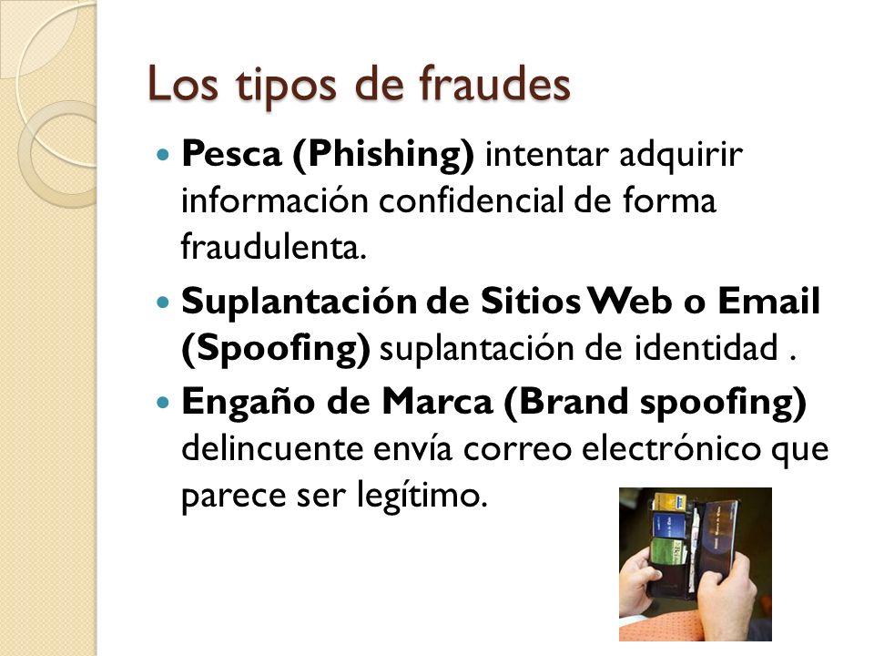 Los tipos de fraudes Pesca (Phishing) intentar adquirir información confidencial de forma fraudulenta.