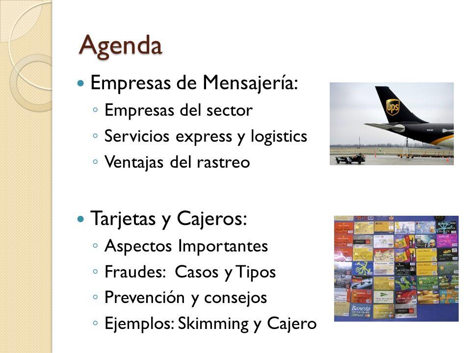 Agenda Empresas de Mensajería: Tarjetas y Cajeros: Empresas del sector