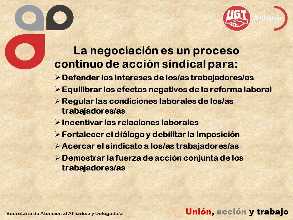 La negociación es un proceso continuo de acción sindical para: