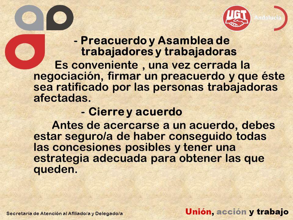 - Preacuerdo y Asamblea de trabajadores y trabajadoras