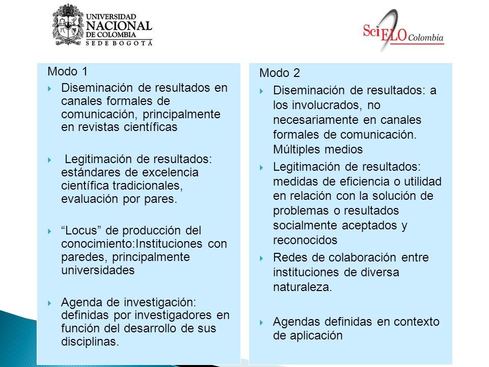 Modo 1 Diseminación de resultados en canales formales de comunicación, principalmente en revistas científicas.