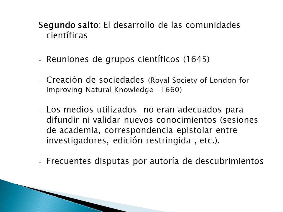 Segundo salto: El desarrollo de las comunidades científicas