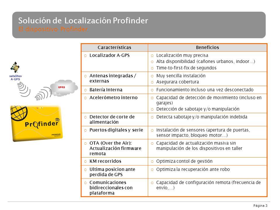 Solución de Localización Profinder El dispositivo Profinder