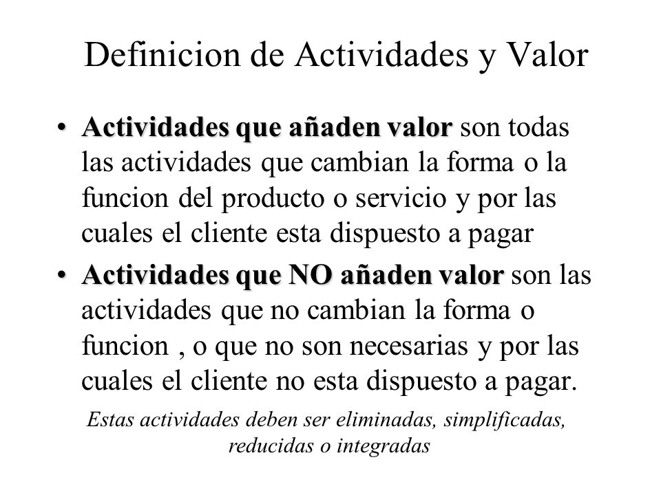 Definicion de Actividades y Valor