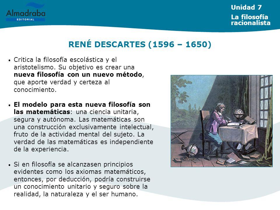 RENÉ DESCARTES (1596 – 1650) Unidad 7 La filosofía racionalista