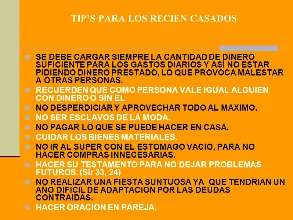 TIP'S PARA LOS RECIEN CASADOS
