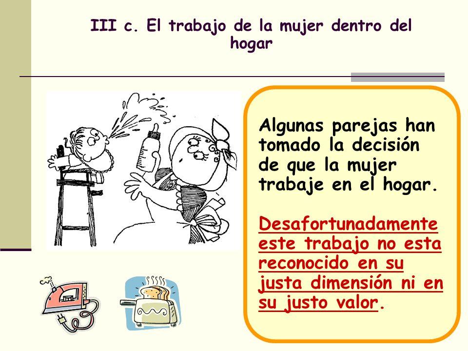 III c. El trabajo de la mujer dentro del hogar