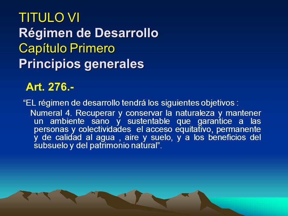 TITULO VI Régimen de Desarrollo Capítulo Primero Principios generales