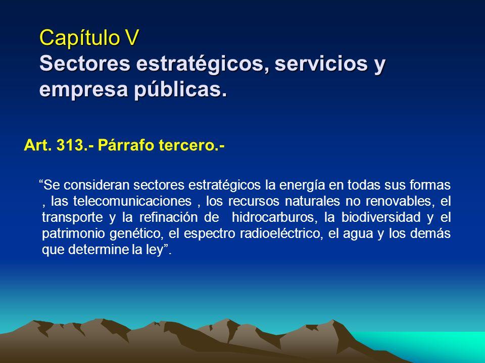 Capítulo V Sectores estratégicos, servicios y empresa públicas.