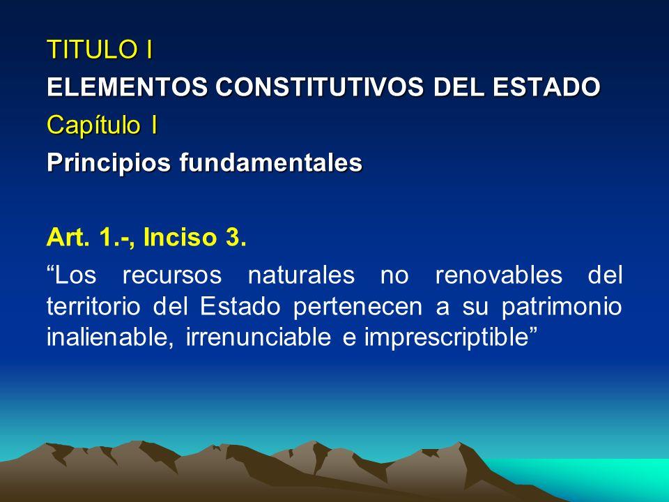 TITULO I ELEMENTOS CONSTITUTIVOS DEL ESTADO. Capítulo I. Principios fundamentales. Art. 1.-, Inciso 3.