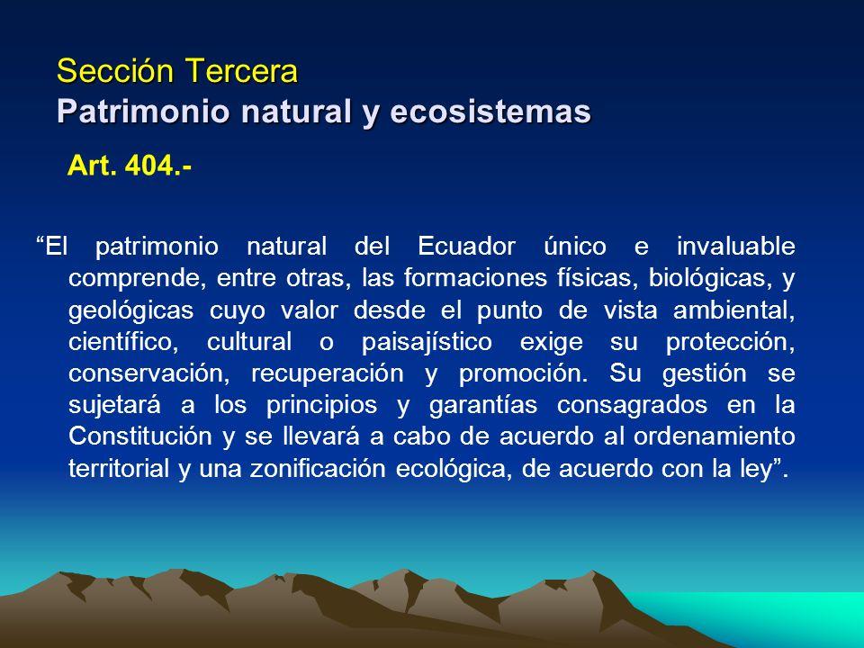 Sección Tercera Patrimonio natural y ecosistemas