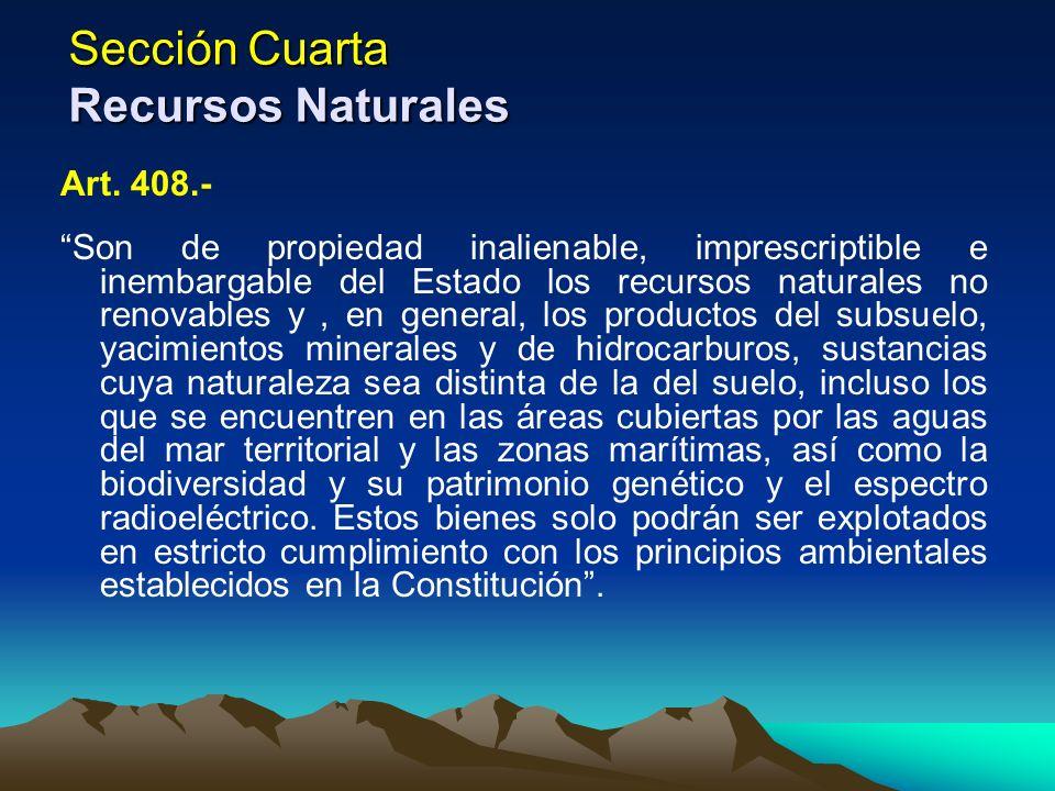 Sección Cuarta Recursos Naturales