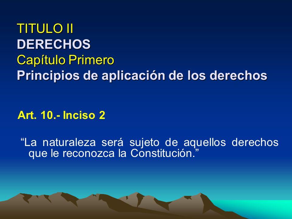 TITULO II DERECHOS Capítulo Primero Principios de aplicación de los derechos