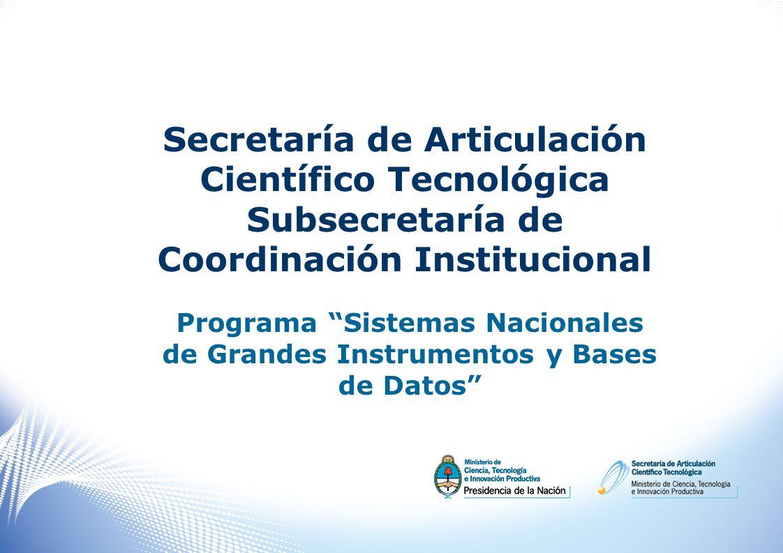 Secretaría de Articulación Científico Tecnológica Subsecretaría de