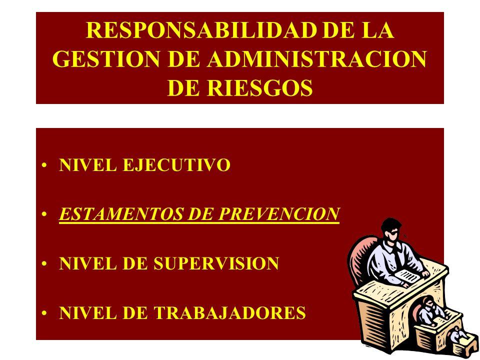 RESPONSABILIDAD DE LA GESTION DE ADMINISTRACION DE RIESGOS