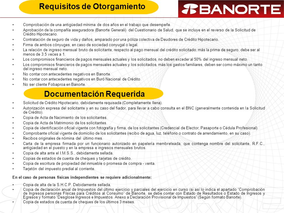 Requisitos de Otorgamiento Documentación Requerida