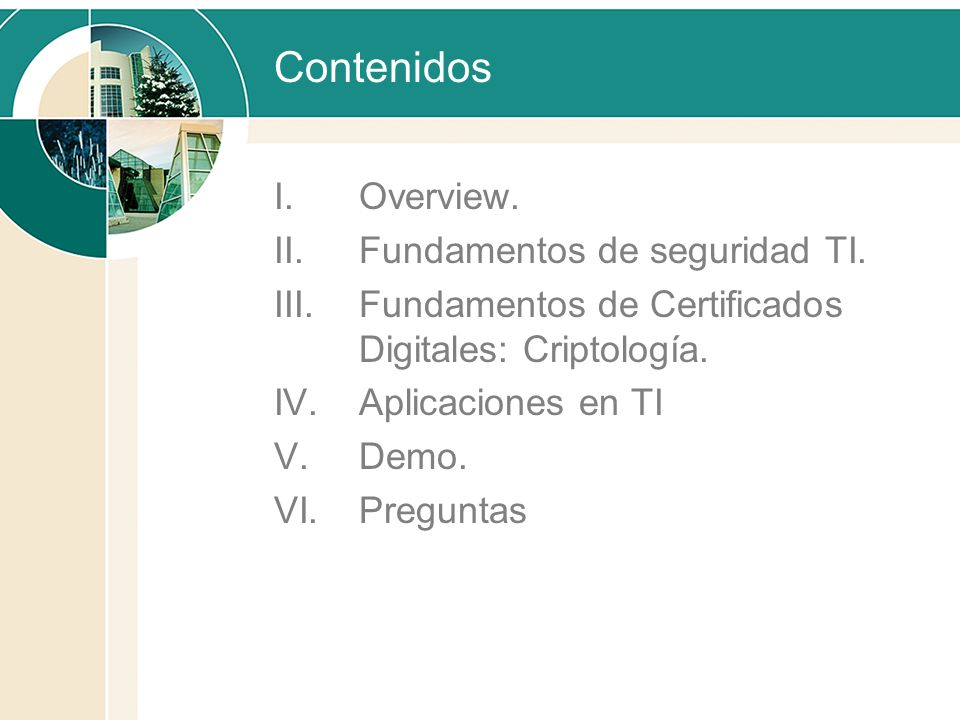 Contenidos Overview. Fundamentos de seguridad TI.