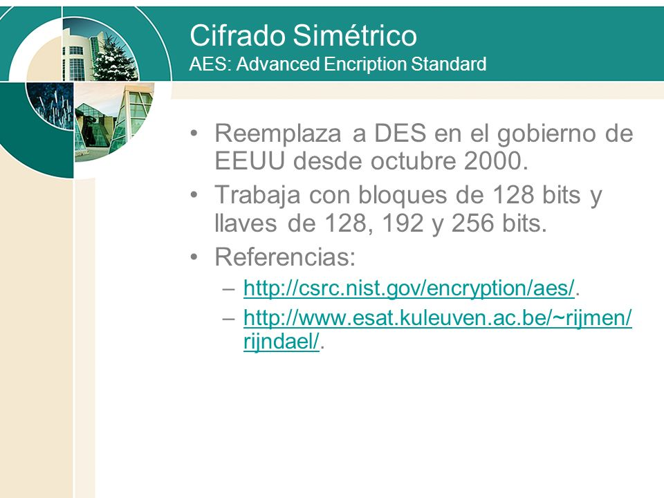 Cifrado Simétrico AES: Advanced Encription Standard