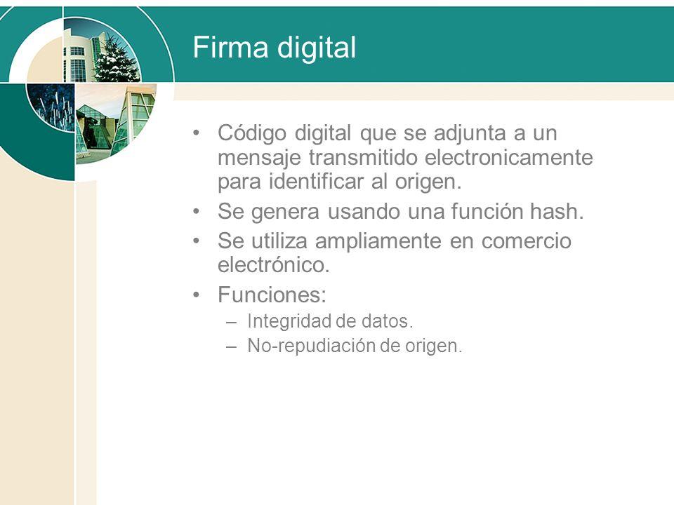 Firma digital Código digital que se adjunta a un mensaje transmitido electronicamente para identificar al origen.