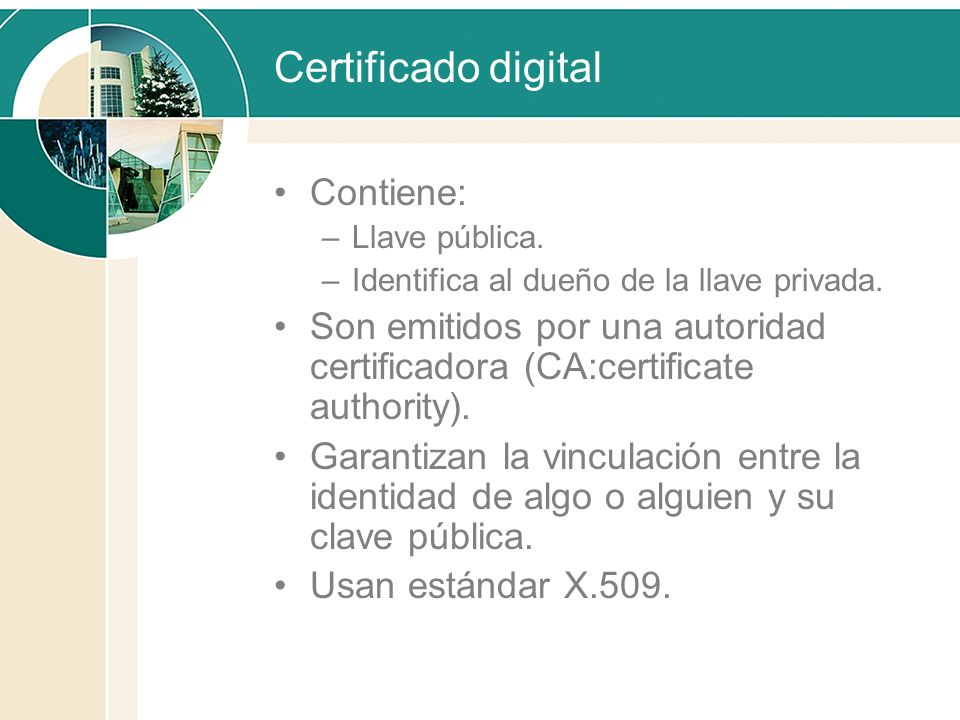 Certificado digital Contiene: