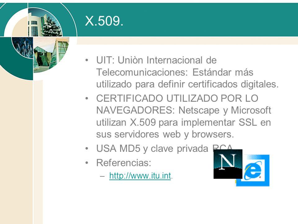 X.509. UIT: Uniòn Internacional de Telecomunicaciones: Estándar más utilizado para definir certificados digitales.