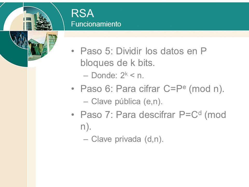 RSA Funcionamiento Paso 5: Dividir los datos en P bloques de k bits.