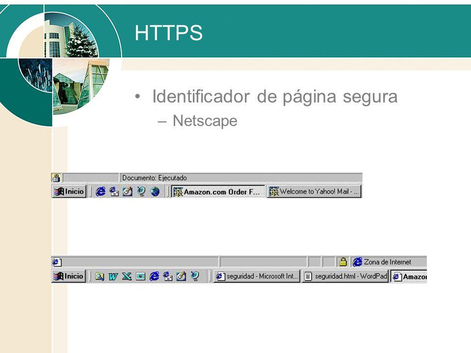 HTTPS Identificador de página segura Netscape Internet Explorer