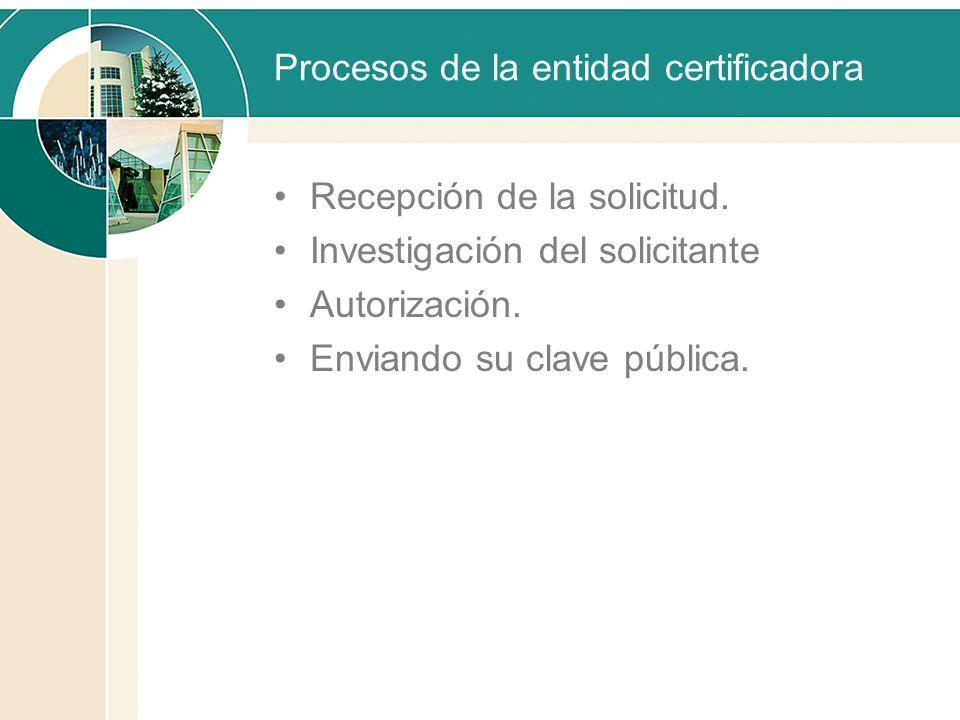 Procesos de la entidad certificadora