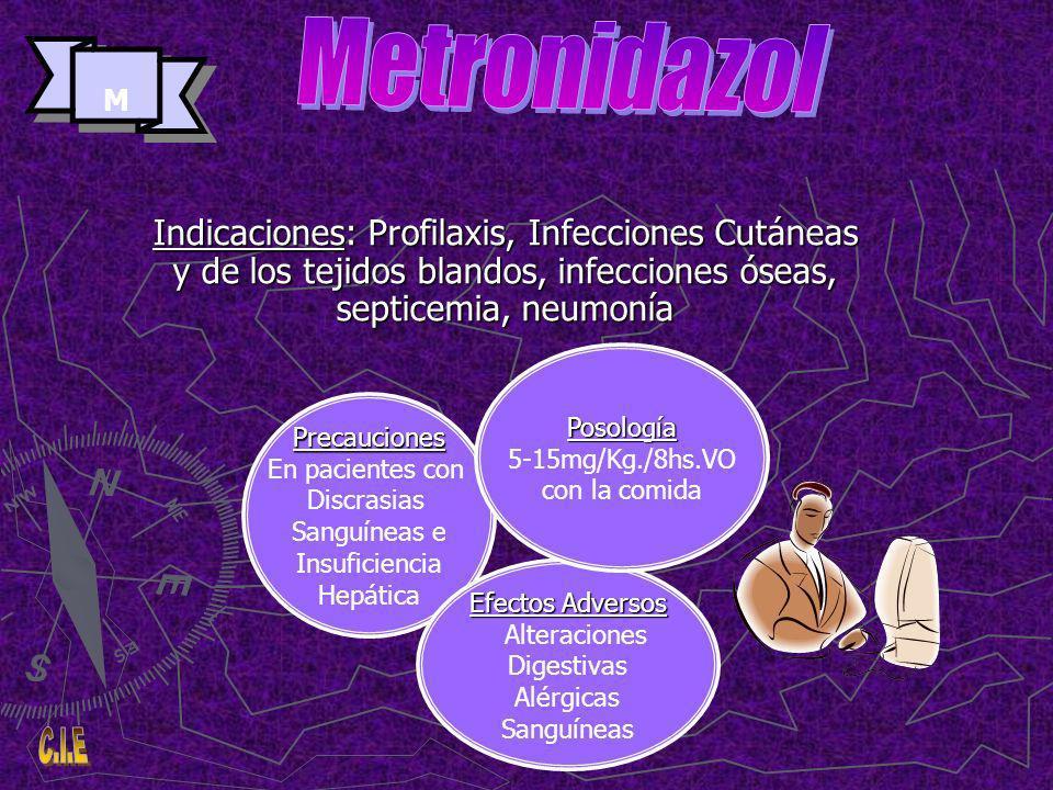Metronidazol M. Indicaciones: Profilaxis, Infecciones Cutáneas y de los tejidos blandos, infecciones óseas, septicemia, neumonía.