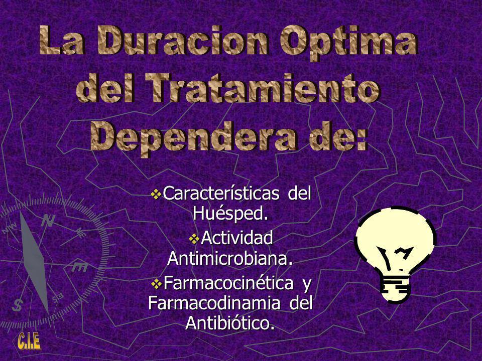 La Duracion Optima del Tratamiento Dependera de: