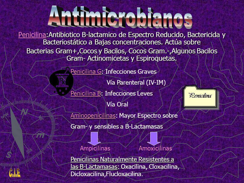 Antimicrobianos Penicilina:Antibiotico B-lactamico de Espectro Reducido, Bactericida y Bacteriostático a Bajas concentraciones. Actúa sobre.