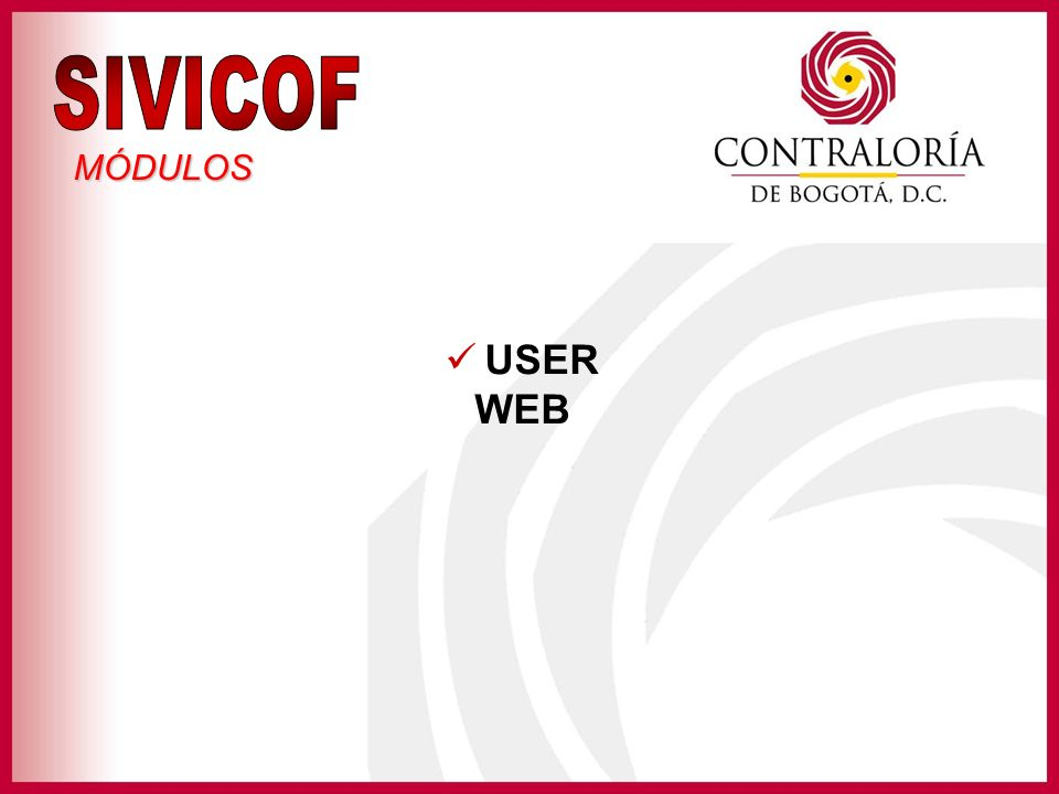 SIVICOF MÓDULOS USER WEB