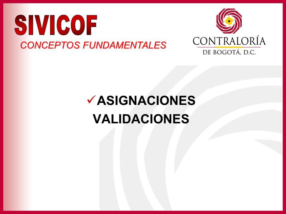 SIVICOF CONCEPTOS FUNDAMENTALES ASIGNACIONES VALIDACIONES