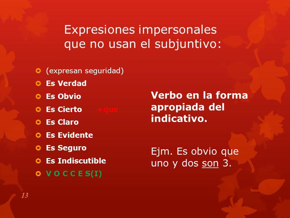 Expresiones impersonales que no usan el subjuntivo: